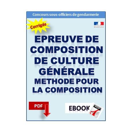 Epreuve de composition de culture générale. Concours Sous-Officier Gendarmerie