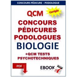 Concours pédicures podologues. QCM biologie  et tests psychotechniques.