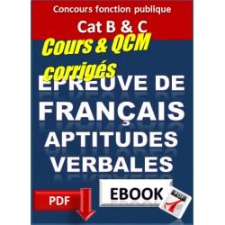 Epreuve de Français Aptitudes verbales. Concours catégorie B & C