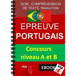 Epreuve de portugais. Concours niveau A et B. Qcm,  compréhension de texte, traduction