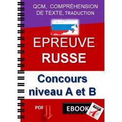 Epreuve de russe, concours niveau A et B. Qcm,  compréhension de texte, traduction