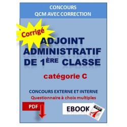 QCM corrigés concours d'Adjoint administratif de 1ère classe
