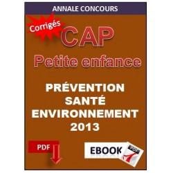 CAP PETITE ENFANCE PRÉVENTION SANTÉ ENVIRONNEMENT 2013